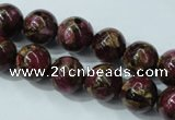 CGO54 15.5 inches 10mm round gold red color stone beads