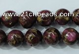 CGO55 15.5 inches 12mm round gold red color stone beads