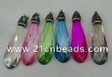 CGP239 20*80mm faceted teardrop crystal glass pendants wholesale