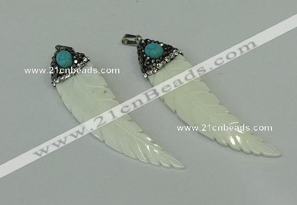 CGP291 15*65mm feather pearl shell pendants wholesale