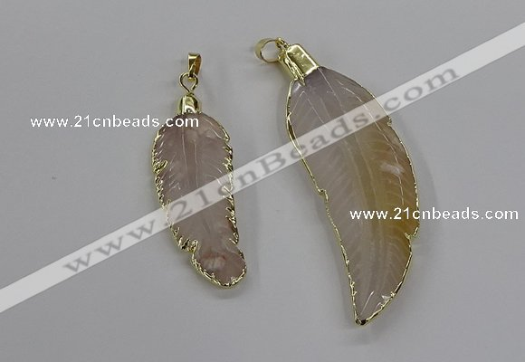CGP3513 20*45mm - 25*65mm wing-shaped agate pendants