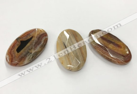 CGP3568 32*50mm faceted oval agate pendants wholesale