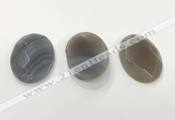 CGP3580 32*45mm faceted oval agate pendants wholesale