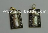 CGP385 20*40mm rectangle pearl pendants wholesale