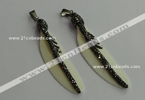 CGP650 18*75mm feather bone pendants wholesale