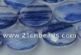 CGQ100 15.5 inches 13*18mm faceted oval blue gold sand quartz beads