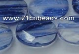 CGQ102 15.5 inches 18*25mm faceted oval blue gold sand quartz beads
