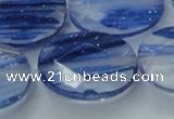 CGQ103 15.5 inches 20*30mm faceted oval blue gold sand quartz beads