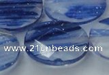 CGQ104 15.5 inches 30*40mm faceted oval blue gold sand quartz beads