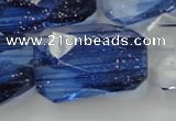 CGQ107 20*30mm faceted & twisted rectangle blue gold sand quartz beads
