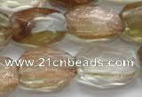 CGQ152 15.5 inches 15*20mm faceted nuggets gold sand quartz beads