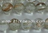 CGQ24 15.5 inches 8mm faceted round gold sand quartz beads