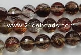 CGQ33 15.5 inches 10mm faceted round gold sand quartz beads