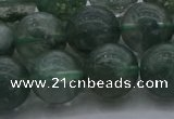 CGQ515 15.5 inches 14mm round matte imitation green phantom quartz beads