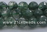 CGQ522 15.5 inches 8mm faceted round imitation green phantom quartz beads
