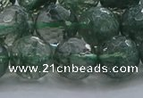 CGQ524 15.5 inches 12mm faceted round imitation green phantom quartz beads