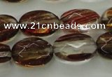 CGQ75 15.5 inches 10*14mm faceted oval red gold sand quartz beads