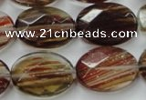 CGQ77 15.5 inches 15*20mm faceted oval red gold sand quartz beads