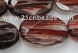 CGQ79 15.5 inches 20*30mm faceted oval red gold sand quartz beads