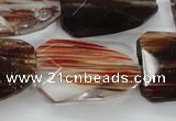 CGQ82 20*30mm faceted & twisted rectangle red gold sand quartz beads