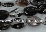 CGQ86 15.5 inches 10*14mm faceted oval black gold sand quartz beads