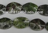 CGR22 15.5 inches 13*18mm wavy oval green rain forest stone beads