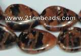 CGS214 15.5 inches 18*25mm flat teardrop blue & brown goldstone beads