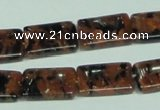 CGS217 15.5 inches 13*18mm rectangle blue & brown goldstone beads