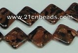 CGS219 15.5 inches 14*14mm diamond blue & brown goldstone beads