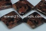 CGS220 15.5 inches 20*20mm diamond blue & brown goldstone beads