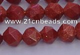 CGS452 15.5 inches 8mm faceted nuggets goldstone beads wholesale