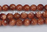 CGS470 15.5 inches 4mm faceted round goldstone beads wholesale