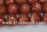 CGS473 15.5 inches 10mm faceted round goldstone beads wholesale