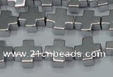 CHE1007 15.5 inches 10*10mm cross plated hematite beads wholesale