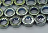 CHE1018 15.5 inches 12mm donut plated hematite beads wholesale