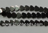 CHE267 15.5 inches 6*6mm heart hematite beads wholesale