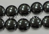 CHE274 15.5 inches 14mm flat round hematite beads wholesale