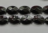 CHE281 15.5 inches 10*14mm faceted oval hematite beads wholesale