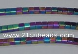CHE453 15.5 inches 2*2mm cube plated hematite beads wholesale