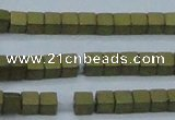 CHE611 15.5 inches 2*2mm cube matte plated hematite beads wholesale