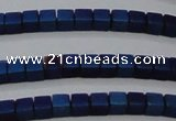 CHE614 15.5 inches 2*2mm cube matte plated hematite beads wholesale