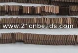CHE620 15.5 inches 1*2*2mm square matte plated hematite beads