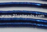 CHE654 15.5 inches 1*3mm tyre plated hematite beads wholesale
