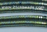 CHE655 15.5 inches 1*3mm tyre plated hematite beads wholesale