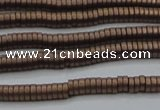 CHE672 15.5 inches 1*2mm tyre matte plated hematite beads