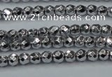 CHE690 15.5 inches 2mm faceted round plated hematite beads