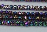 CHE696 15.5 inches 2mm faceted round plated hematite beads