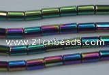CHE764 15.5 inches 2*4mm tube plated hematite beads wholesale