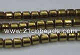 CHE776 15.5 inches 2*2mm drum plated hematite beads wholesale