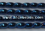CHE807 15.5 inches 4*6mm rice plated hematite beads wholesale